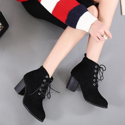 Lace Up Flock Ankle Boots Chunky Pumps Heels 1632
