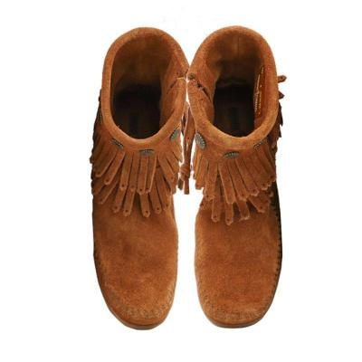 Buckle Flat Heel Artificial Leather Taseel Fringe Ankle Boots