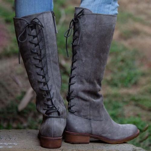 Low Heel Zipper Winter Artificial Leather Boots Knee-High Boots
