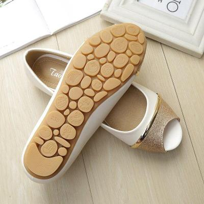 2019 New Peep Toe Sequin Flat Shoes Pregnant Women Flats Shoe Shallow Mouth PU Leather Shoes Summer Wholesale YX0002