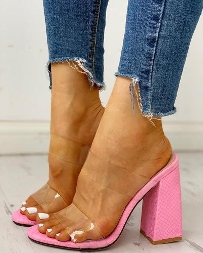 Transparent Double Strap Chunky Heeled Sandals
