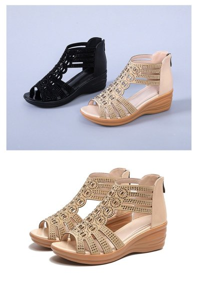 Comfortable Wedge Sandals Women Summer Shoes Elegant Ladies Rome Sandals Fashion Brand Female Sandalias Black Wedge Heels A1629