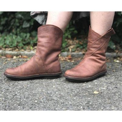 Simple Style Slip On Faux Leather All Season Boots