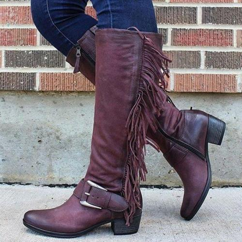 Women's casual tassel zipper boots