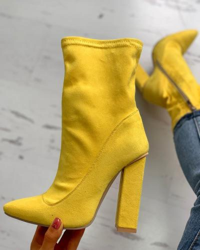 Suede Side Zipper Up Chunky Heeled Boots
