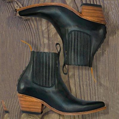 Women Block Heel Pointed Toe Chelsea Boots Slip-On Ankle Booties
