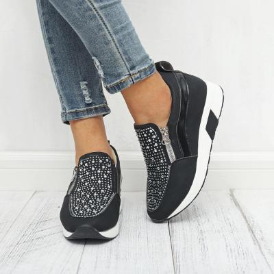 Women's Sneakers White Running Shoes Rhinestone Zipper Platform Sneakers Large Size 42-43 Comfortable Women Casual Shoes