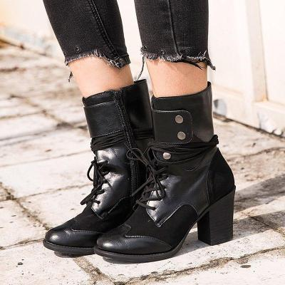 Black Closed Toe Women Chunky Heel Med (3-8Cm) Boots