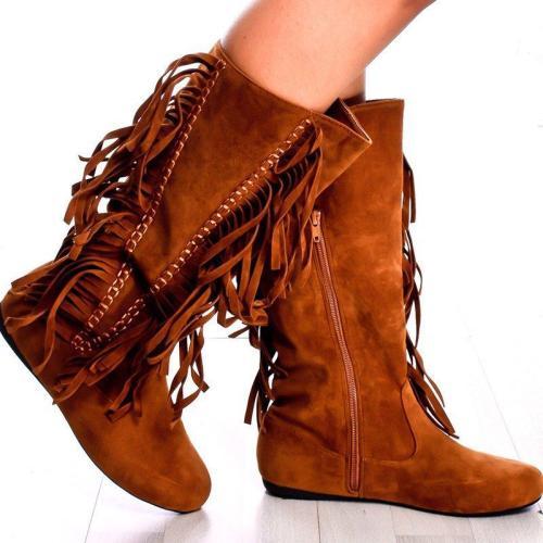 Plus Size Tassel Boho Suede Flat Heel Mid Boots