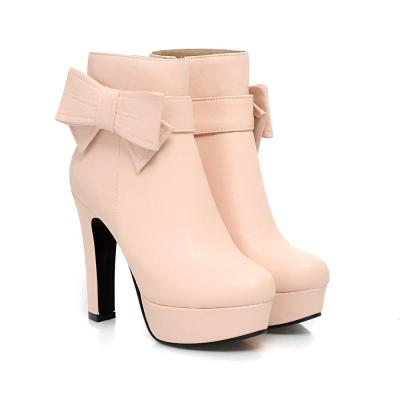 Bowtie Platform Short Boots Plus Size Women Shoes 2949