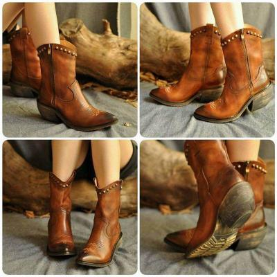 Chunky Heel Artificial Leather Rivet Boots New Fashion Zipper Boots