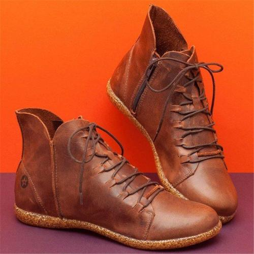 Women Casual Flat Non-Slip Soft Sole Zipper Ankle Boots