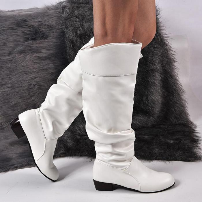 Plus Size Knee Height Leather Boots