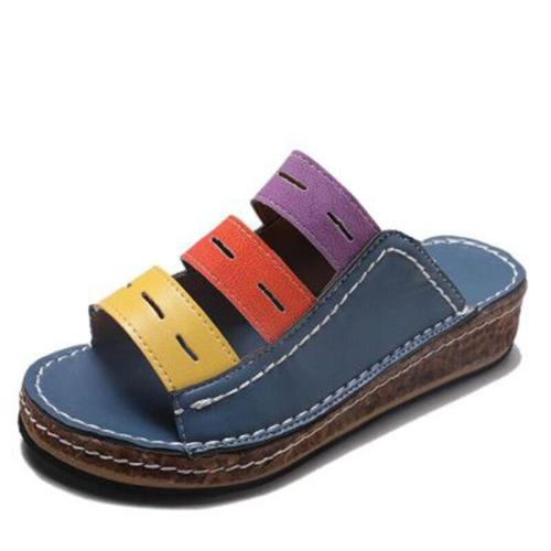 Summer Sandals For Women Shoes Retro Flat Sandals Flip Flops Mixed Color Soft Leather Ladies Sandals Beach Shoes Footwear