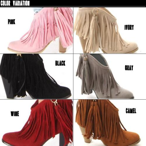 Women Tassel High Heels Short Boots Plus Size Autumn and Winter Shoes 5924