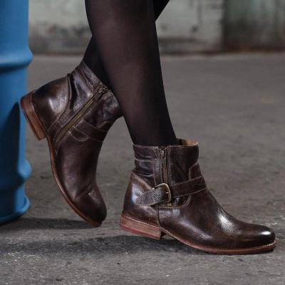 Women's leather retro knight boots ankle boots
