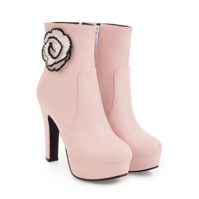Autumn Winter Short Platform Boots High Heel Thick Heel Flower Women's Ankle Boots
