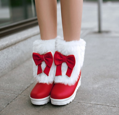 Bowtie Fur Platform Wedge Snow Boots Plus Size Women Shoes 4184