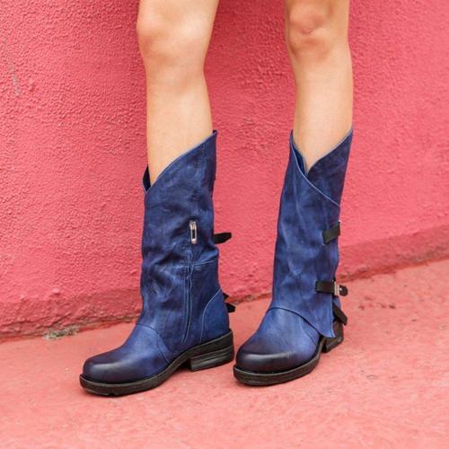 Buckle Holiday Block Heel Knee Boots