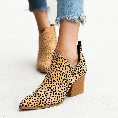 Chunky Heel Women Pointed Toe Boots