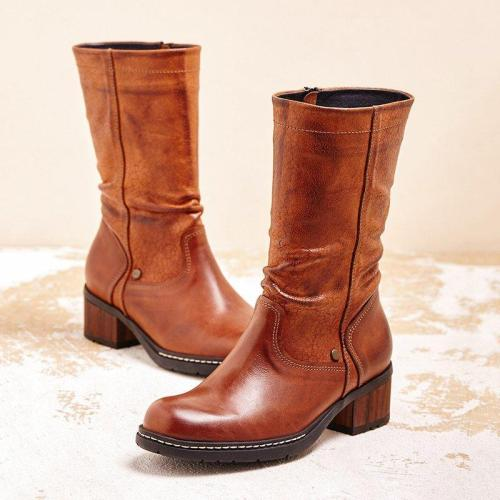 Women Winter Zipper Slip-On Mid-Calf Boots