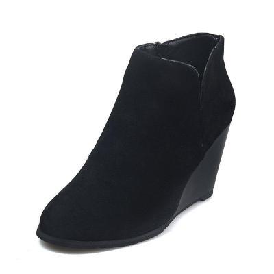 Wedge Heel Side Zipper All Season Ankle Boots