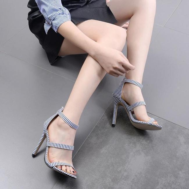 Stripe Slim Heel Word Band High Heel Shoes