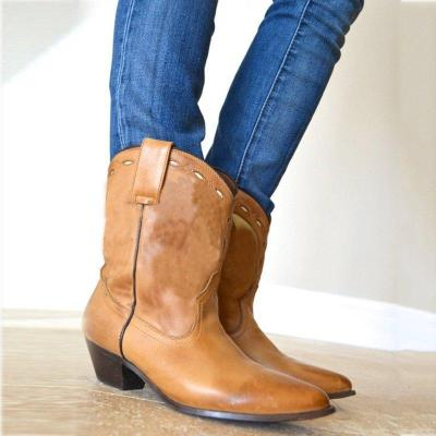 Cowgirl Ankle Boots Artificial Leather Slip-On Chunky Heel Boots
