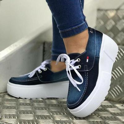 Lace Up Low Heel All Season Denim Sneakers