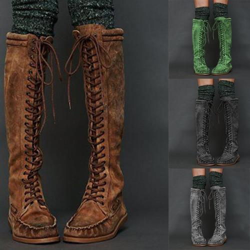 Womens Flat Heel Lace-Up Artificial Leather Knee-High Boots