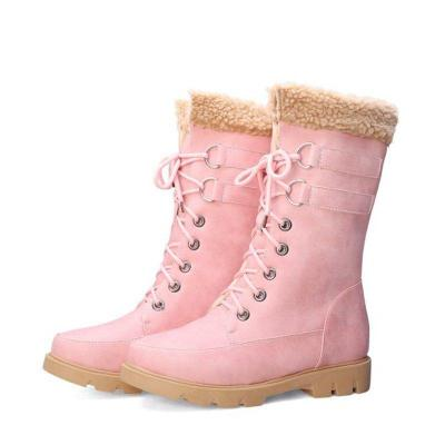 Warm Lace-up Flat Heel Snow Boots