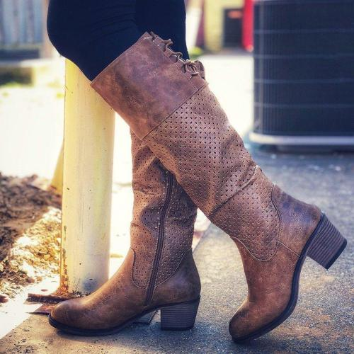 Chunky Heel Strappy Artificial Leather Knee-High Boots With Zipper