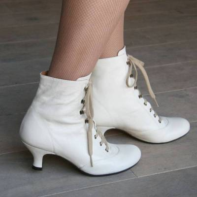 Women Comfy  Lace Up Wedding Chunky Heel Shoes