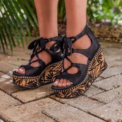 KENTUCKY in BLACK Wedge Sandals