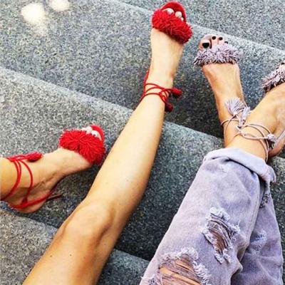 Fashion Tassel High Heel Sandals Cross Strap Stiletto