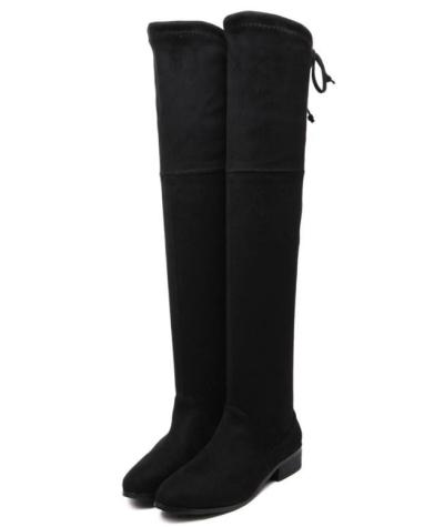 Slim Back Straps Over the Knee Boots Low Heels 6298