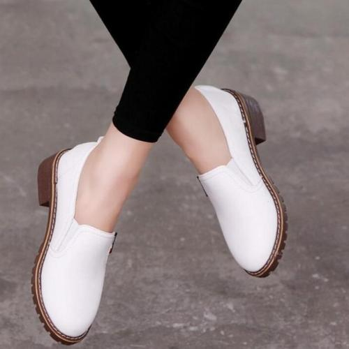 Non Slip Shoes Woman Loafers Solid color Flat Shoes women Breathable Square Heel Ladies Shoes Casual Shoes Sneakers Women