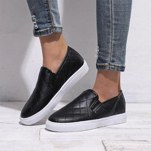Women Spring Slip On Flat Shoes Ladies PU Leather Casual Shoes Female Canvas Lightweight Fashion Platform Woman Sneakers