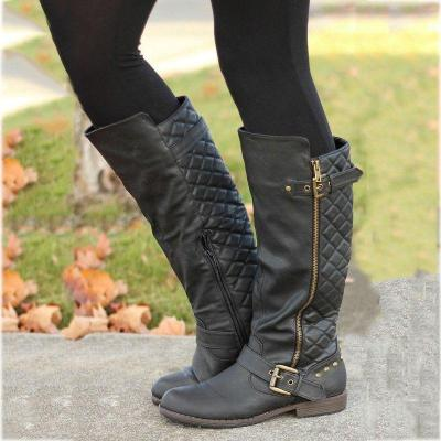 Fashion Adjustable Buckle Winter Artificial Leather Low Heel Boots