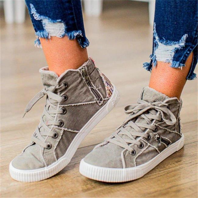 Women Casual Flat Heel Lace-Up Zipper Comfy Sneakers