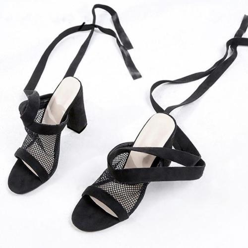 Elegant Fish Mouth Mesh High Heels Shoes