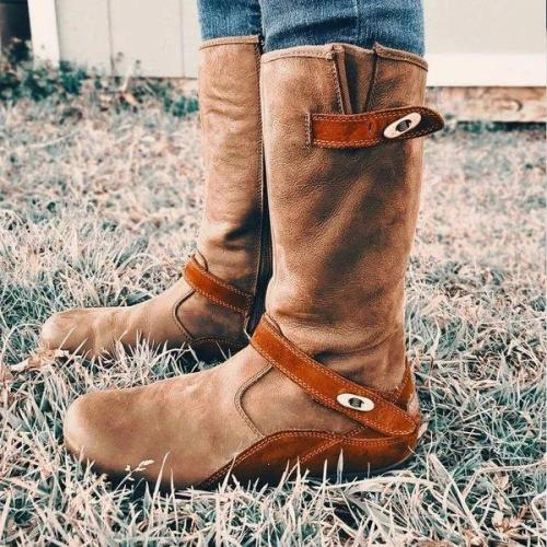Women Daily Faux Suede Buckle Mid-Calf Boots