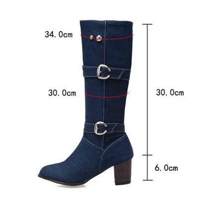 Women's Plus Size Chunky Heel Denim Buckle Mid-Calf Boots