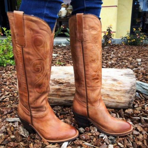 Chunky Heel Artificial Leather Slip-On Cowgirl Western Boots