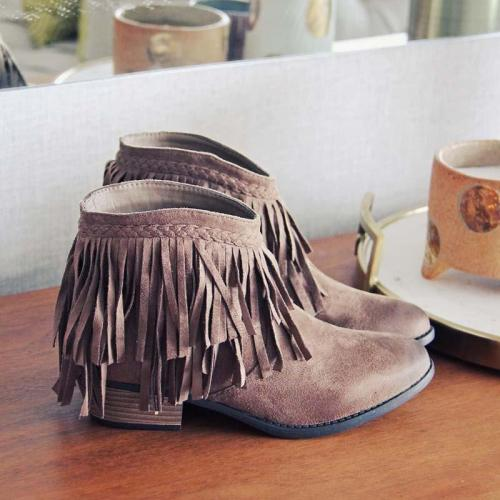 Women Slide Round Toe Casual Chunky Heel Pu Tassel Ankle Boots