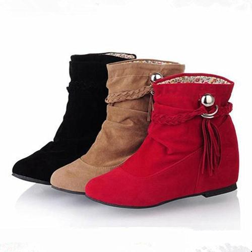 Women Velvet Tassel Short Boots Plus Size Autumn and Winter Shoes 5966