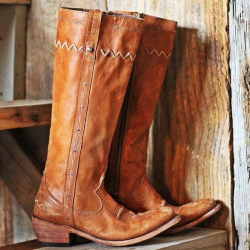 Women Slide Pointed Toe Zipper Chunky Heel Spring Casual Mid-Calf Boots