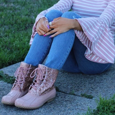 Women Casual Lace-Up Sparkling Glitter Boots