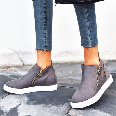 Casual Double Side Zipper Flat Suede Sneakers