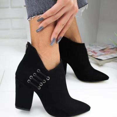 Elegant Back Zipper All Season High Heel Ankle Boots